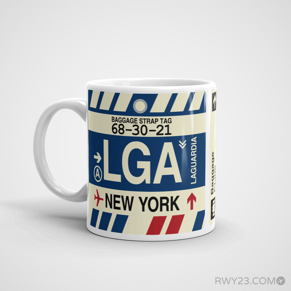 RWY23 - LGA New York, New York Airport Code Coffee Mug - Birthday Gift, Christmas Gift - Left