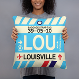 LOU Louisville Throw Pillow • Airport Code & Vintage Baggage Tag Design