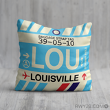RWY23 - LOU Louisville, Kentucky Airport Code Throw Pillow - Birthday Gift Christmas Gift