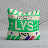 RWY23 - LYS Lyon, France Airport Code Throw Pillow - Birthday Gift Christmas Gift
