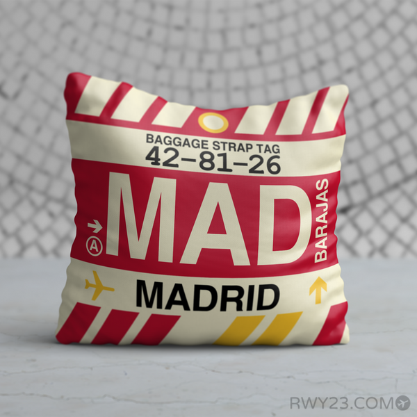 RWY23 - MAD Madrid, Spain Airport Code Throw Pillow - Birthday Gift Christmas Gift