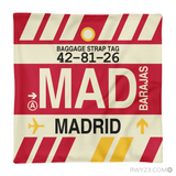 RWY23 - MAD Madrid, Spain Airport Code Throw Pillow - Aviation Gift Travel Gift