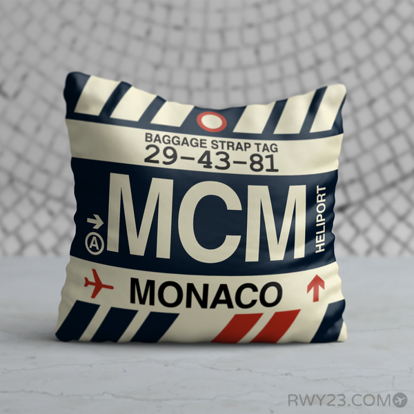 RWY23 - MCM Monte Carlo, Monaco Airport Code Throw Pillow - Birthday Gift Christmas Gift