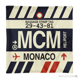 RWY23 - MCM Monte Carlo, Monaco Airport Code Throw Pillow - Aviation Gift Travel Gift
