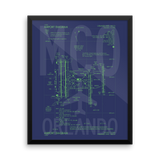"RWY23 - MCO Orlando Airport Diagram Framed Poster - Aviation Art - Birthday Gift, Christmas Gift, Home and Office Decor - 16""x20"" Wall"