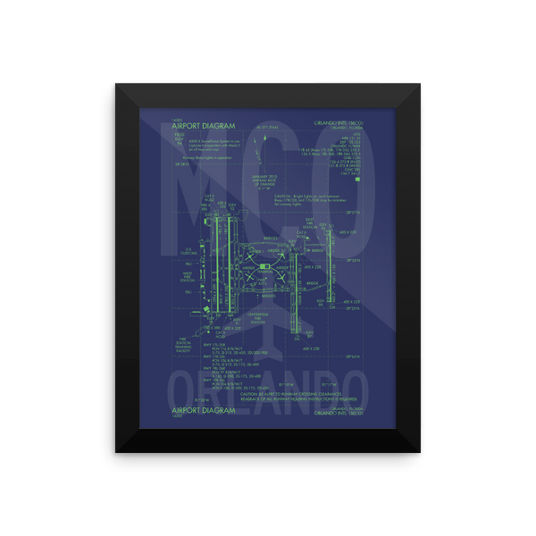 "RWY23 - MCO Orlando Airport Diagram Framed Poster - Aviation Art - Birthday Gift, Christmas Gift, Home and Office Decor  - 8""x10"" Wall"