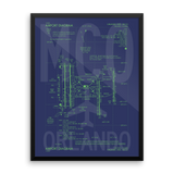 "RWY23 - MCO Orlando Airport Diagram Framed Poster - Aviation Art - Birthday Gift, Christmas Gift, Home and Office Decor - 18""x24"" Wall"
