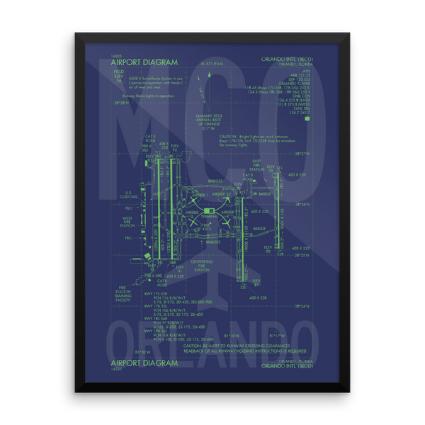 "RWY23 MCO Orlando Airport Diagram Framed Poster 18""x24"" Wall"