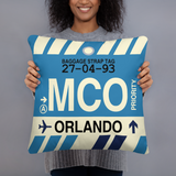MCO Orlando Throw Pillow • Airport Code & Vintage Baggage Tag Design