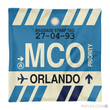 RWY23 - MCO Orlando, Florida Airport Code Throw Pillow - Aviation Gift Travel Gift