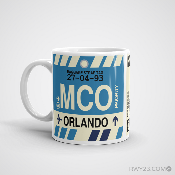 RWY23 - MCO Orlando, Florida Airport Code Coffee Mug - Birthday Gift, Christmas Gift - Left