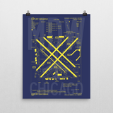 "RWY23 - MDW Chicago Airport Diagram Poster - Aviation Art - Birthday Gift, Christmas Gift, Home and Office Decor - 16""x20"" Wall"