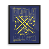 "RWY23 MDW Chicago (Midway) Airport Diagram Framed Poster 16""x20"" Wall"