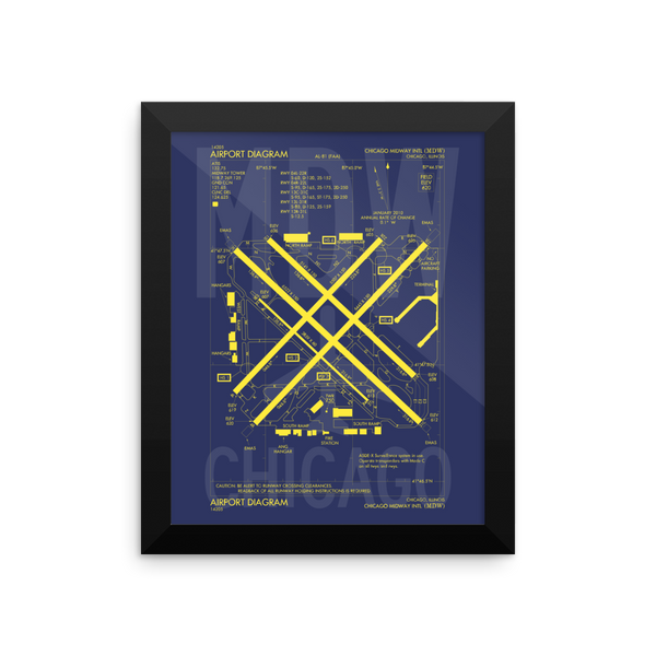 "RWY23 MDW Chicago (Midway) Airport Diagram Framed Poster 8""x10"" Wall"