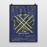 "RWY23 - MDW Chicago Airport Diagram Poster - Aviation Art - Birthday Gift, Christmas Gift, Home and Office Decor - 18""x24"" Wall"