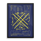 "RWY23 MDW Chicago (Midway) Airport Diagram Framed Poster 18""x24"" Wall"