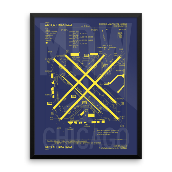 "RWY23 - MDW Chicago Airport Diagram Framed Poster - Aviation Art - Birthday Gift, Christmas Gift, Home and Office Decor - 18""x24"" Wall"