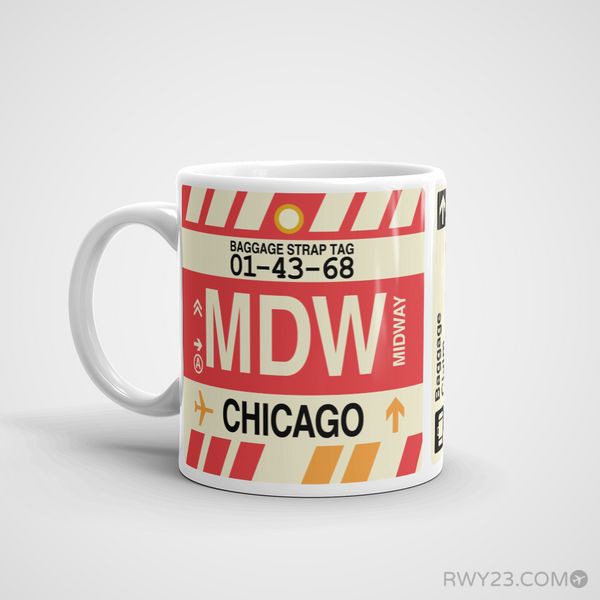 RWY23 - MDW Chicago Airport Code Coffee Mug - Birthday Gift, Christmas Gift - Left