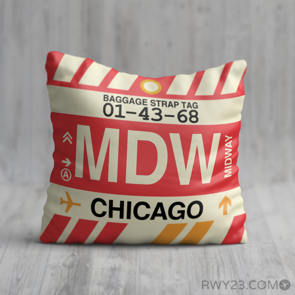 RWY23 - MDW Chicago, Illinois Airport Code Throw Pillow - Birthday Gift Christmas Gift