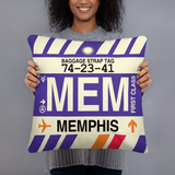 MEM Memphis Throw Pillow • Airport Code & Vintage Baggage Tag Design