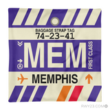 RWY23 - MEM Memphis, Tennessee Airport Code Throw Pillow - Aviation Gift Travel Gift