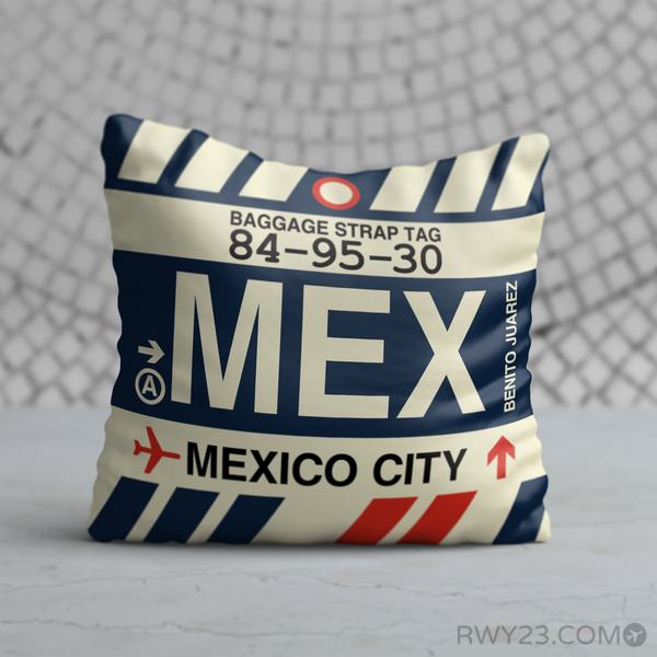 RWY23 - MEX Mexico City, Mexico Airport Code Throw Pillow - Birthday Gift Christmas Gift