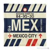 RWY23 - MEX Mexico City, Mexico Airport Code Throw Pillow - Aviation Gift Travel Gift