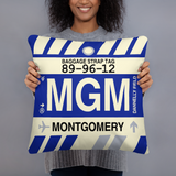 MGM Montgomery Throw Pillow • Airport Code & Vintage Baggage Tag Design