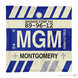 RWY23 - MGM Montgomery, Alabama Airport Code Throw Pillow - Aviation Gift Travel Gift