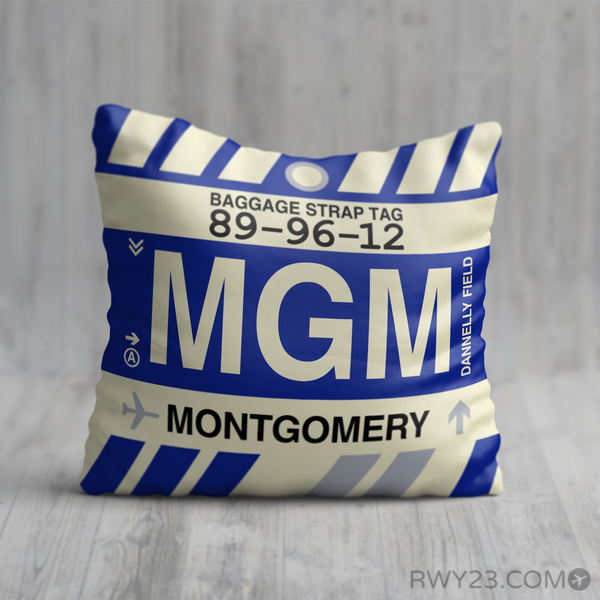 RWY23 - MGM Montgomery, Alabama Airport Code Throw Pillow - Birthday Gift Christmas Gift