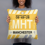 MHT Manchester Throw Pillow • Airport Code & Vintage Baggage Tag Design