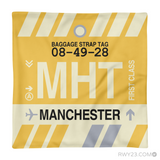 RWY23 - MHT Manchester, New Hampshire Airport Code Throw Pillow - Aviation Gift Travel Gift