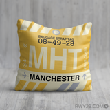 RWY23 - MHT Manchester, New Hampshire Airport Code Throw Pillow - Birthday Gift Christmas Gift