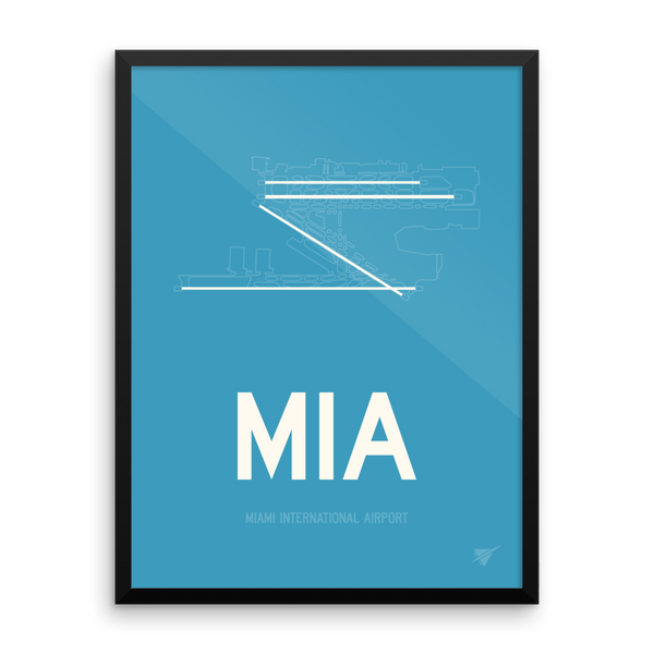 "RWY23 MIA Miami Airport Diagram Framed Poster 18""x24"" Wall"