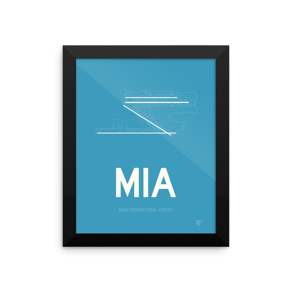 "RWY23 MIA Miami Airport Diagram Framed Poster 8""x10"" Wall"