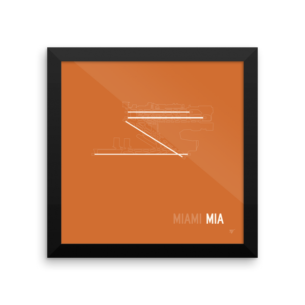 rwy23 - mia miami airport runway diagram framed square poster - aviation  gift - wall 10