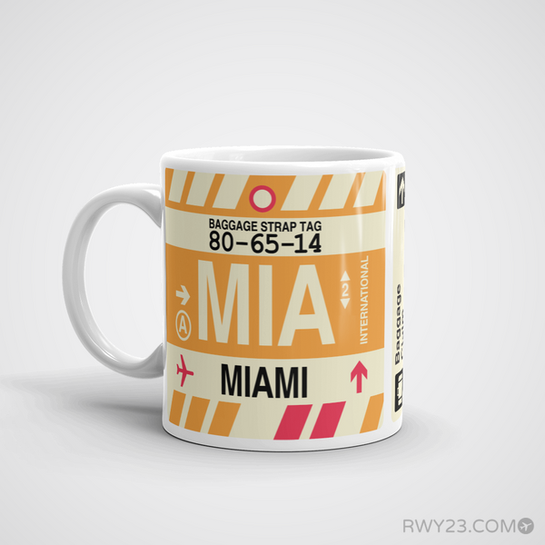 RWY23 - MIA Miami, Florida Airport Code Coffee Mug - Birthday Gift, Christmas Gift - Left