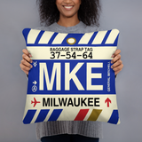 RWY23 - MKE Milwaukee, Wisconsin Airport Code Throw Pillow - Birthday Gift Christmas Gift - Lady