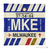 RWY23 - MKE Milwaukee, Wisconsin Airport Code Throw Pillow - Aviation Gift Travel Gift
