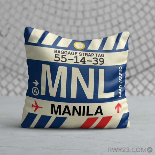 RWY23 - MNL Manila, Philippines Airport Code Throw Pillow - Birthday Gift Christmas Gift