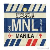 RWY23 - MNL Manila, Philippines Airport Code Throw Pillow - Aviation Gift Travel Gift