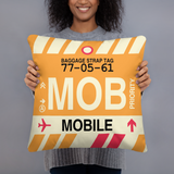 MOB Mobile Throw Pillow • Airport Code & Vintage Baggage Tag Design