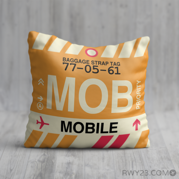 RWY23 - MOB Mobile, Alabama Airport Code Throw Pillow - Birthday Gift Christmas Gift