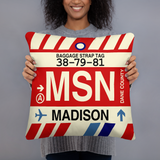 MSN Madison Throw Pillow • Airport Code & Vintage Baggage Tag Design