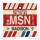 RWY23 - MSN Madison, Wisconsin Airport Code Throw Pillow - Aviation Gift Travel Gift