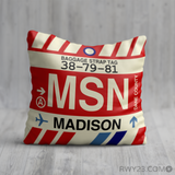 RWY23 - MSN Madison, Wisconsin Airport Code Throw Pillow - Birthday Gift Christmas Gift
