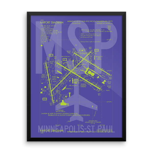 "RWY23 MSP Minneapolis-St. Paul Airport Diagram Framed Poster 18""x24"" Wall"