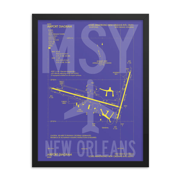 MSY New Orleans Framed Poster • Airport Diagram Design