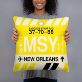 MSY New Orleans Throw Pillow • Airport Code & Vintage Baggage Tag Design
