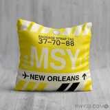 RWY23 - MSY New Orleans, Louisiana Airport Code Throw Pillow - Birthday Gift Christmas Gift